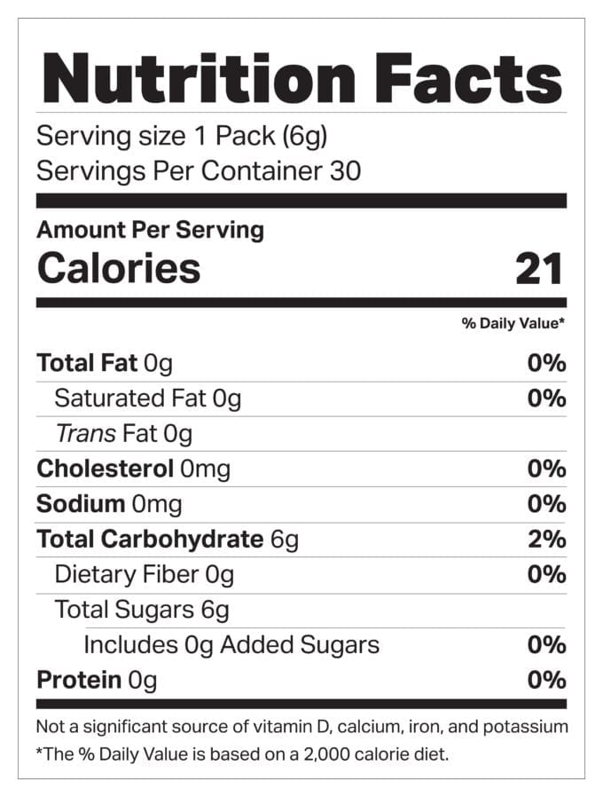 Red Belly Honey Snap Pack Nutritional Information