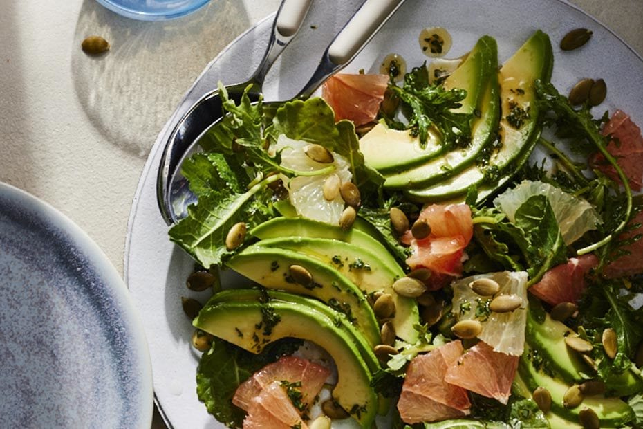 Grapefruit Kale and Avocado Salad with Red Belly Honey